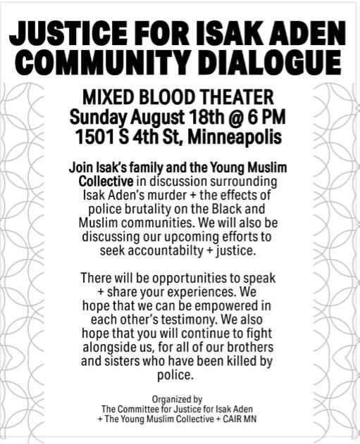 Justice for Isak Aden Community Dialog @ Mixed Blood Theatre Company | Minneapolis | Minnesota | United States