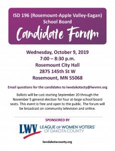 ISD 196 School Board Candidate Forum @ Rosemount City Hall | Rosemount | Minnesota | United States