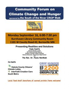 Climate Change and Hunger: Realities and Solutions @ Burnhaven Library, Burnsville   Burnsville   Minnesota   United States