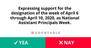 H. Res. 914, Expressing support for the designation of the week of April 6 through April 10, 2020, as National Assistant Principals Week.