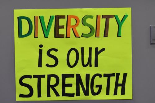 One of several signs at the event.