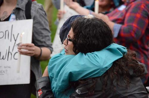 Erin Maye Quade gets a hug of support.