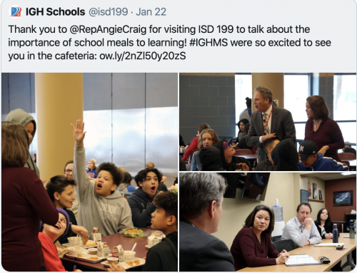 ISD 199 Visit - Talk about the importance of school meals