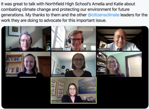 Remote interaction with Northfield High School students.