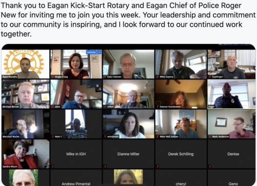 Meeting with Eagan Kick-Start Rotary and Eagan Chief of Police Roger New