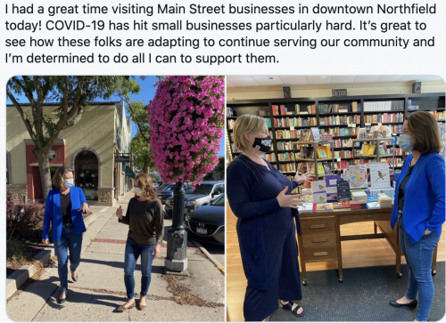 Visiting Main Street businesses in downtown Northfield