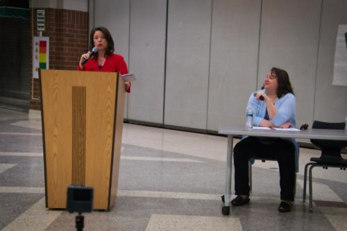 U.S. Rep. Angie Craig, CD2 Minnesota and the moderator, Marty Fridgen, president of United Teachers of South Washington Country.